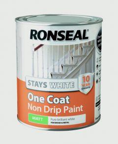 Ronseal Stays White One Coat Non Drip Paint White Matt 750Ml