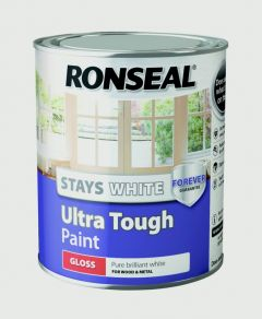 Ronseal Stays White Ultra Tough Paint White Gloss 750Ml