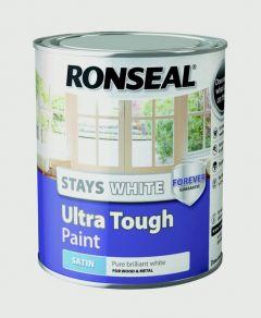 Ronseal Stays White Ultra Tough Paint White Satin 750Ml