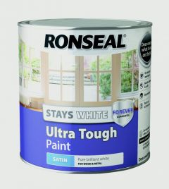 Ronseal Stays White Ultra Tough Paint White Satin 2.5L