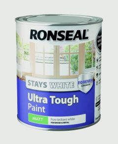 Ronseal Stays White Ultra Tough Paint White Matt 750Ml
