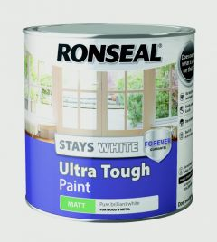 Ronseal Stays White Ultra Tough Paint White Matt 2.5L