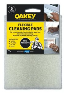 Oakey Hand Abrasive Cleaning Pad White Pack 5