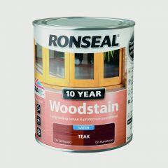 Ronseal 10 Year Woodstain Satin 750Ml Teak