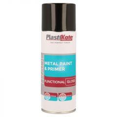PlastiKote Metal Paint & Primer 400ml Spray Black Gloss
