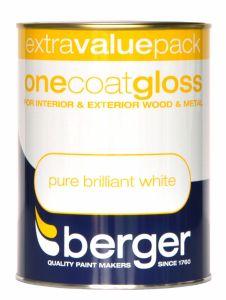 Berger One Coat Gloss 1.25L Pure Brilliant White