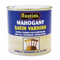 Rustins Polyurethane Satin Varnish 250Ml Mahogany