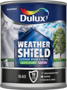 Dulux Weathershield Quick Dry Satin 750Ml Black