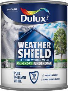 Dulux Weathershield Quick Dry Undercoat 750Ml Pure Brilliant White