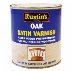 Rustins Polyurethane Satin Varnish 500Ml Oak