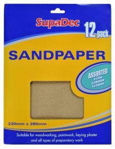 Supadec General Purpose Sandpaper Pack 12 Assorted