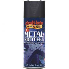 Plastikote Metal Protekt Paint 400Ml Aerosol Matt Black