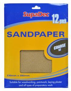 Supadec General Purpose Sandpaper Pack 12 Coarse S2