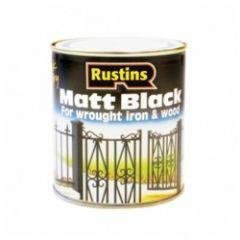 Rustins Matt Black Paint 1L