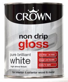 Crown Non Drip Gloss 750Ml Pure Brilliant White
