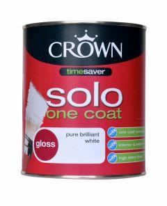 Crown Solo One Coat Gloss 750Ml Pure Brilliant White