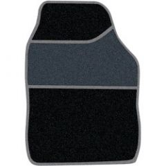 Streetwize Velour Carpet Mat Sets with Coloured Binding - 4 Piece Black/Grey