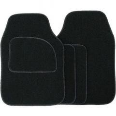 Streetwize Velour Carpet Mat Sets with Coloured Binding - 4 Piece Black/Black