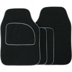 Streetwize Velour Carpet Mat Sets with Coloured Binding - 4 Piece Black With Grey Piping