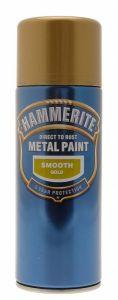 Hammerite Metal Paint 400ml Aerosol Smooth Gold
