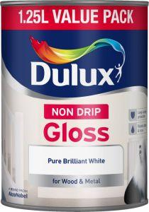 Dulux Non Drip Gloss 1.25L Pure Brilliant White