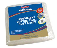 SupaDec Absorbent Cotton Twill Dust Sheet 6 x 3 Water Resistant