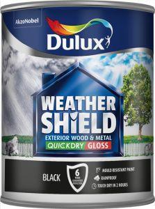 Dulux Weathershield Exterior Quick Dry Gloss 750Ml Black
