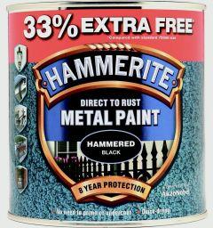 Hammerite Metal Paint Hammered 750Ml + 33% Free Black