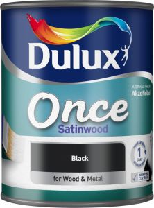 Dulux Once Satinwood 750Ml Black