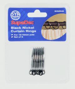 Supadec Curtain Rings Pack 6 Black Nickel