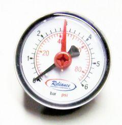 Reliance Water Controls horizontal pressure gauge dial 0-6 bar 50mm