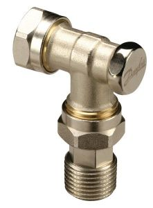 Danfoss RLV-D compression fit valve with lockshield 15mm