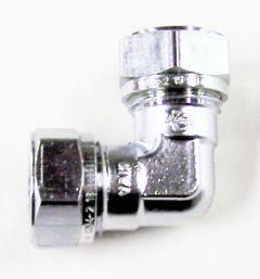 Pegler Yorkshire Kuterlite K615CP 90deg elbow 15mm Copper/Chrome Plated