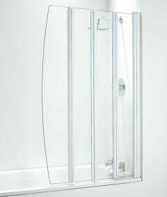 Coram 4-folding bathscreen 865mm Chrome/Clear