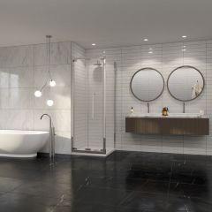 Coram PREMIER8 plain glass side panel 800 x 2000mm Chrome Finish