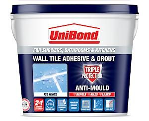 Unibond Wall Tile Adhesive & Grout Triple Protect - 1L - Ice White