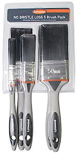 Pk Of 5 No Bristle Loss Paint Brushes