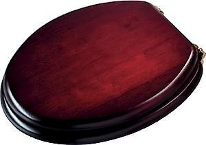 Mahogany Toilet Seat With Brass Effect Hinges