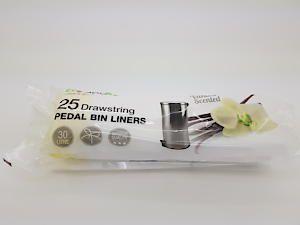 25 X 30L Drawstring Pedal Bin Liners (Vanilla Scented)
