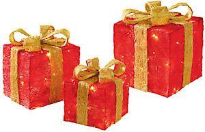 3Pc Red Gold Bow Parcels Lb191676