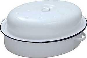 Enamel Oval Roaster 26Cm White