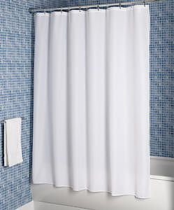 Plain Textile White Shower Curtain