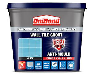 Unibond Wall Tile Grout Black 1.38Kg Ready Mixed Triple Protection