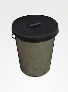 Galv Metal Bin With Rubber Lid