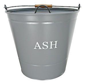 Ash Bucket With Lid Grey 0347