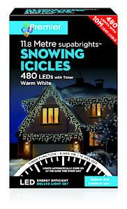 480 Led Snowing Icicles With Timer Warm Wht