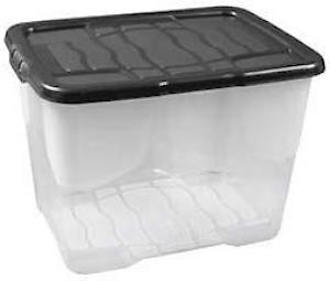 24L Curve Box With Lid  Clear / Black Lid