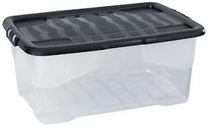 42L Curve Box With Lid  Clear / Black Lid