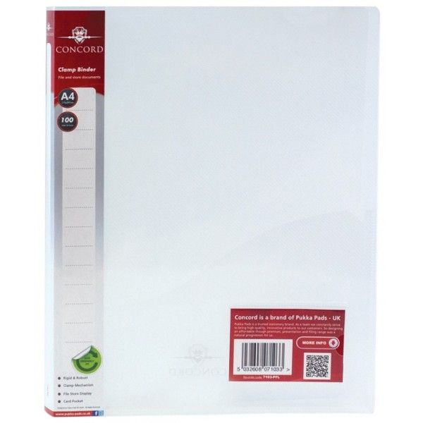 A4 Clamp Binders Clear Pack Of 10