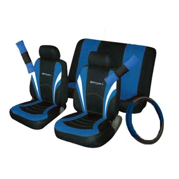 Car Seat Steering Wheel Seatbelt Cover Sport Set Blackblue